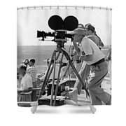 Photographers Filming An Event Shower Curtain by Underwood Archives
