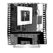 Photographic Artwork Of Woody Allen In A Window Display Shower Curtain