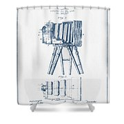 Photographic Camera Patent Drawing From 1885- Blue Ink Shower Curtain