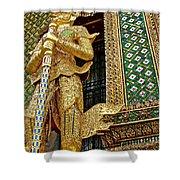 Phra Mondhop At Thai Pagoda At Grand Palace Of Thailand In Bangkok  Shower Curtain