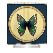Phthalo Butterfly Shower Curtain