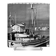 Phyllis Purse-seiner Monterey Wharf California  Circa 1940 Shower Curtain