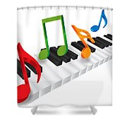 Piano Keyboard And 3d Music Notes Illustration Shower Curtain