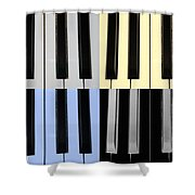 Piano Keys In Quad Colors Shower Curtain
