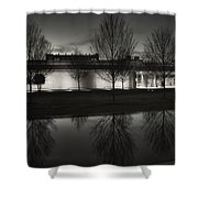 Piano Pavilion Bw Reflections Shower Curtain