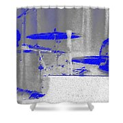 Piano Player In Pastel Blue Shower Curtain