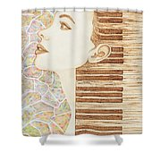Piano Spirit Original Coffee And Watercolors Series Shower Curtain