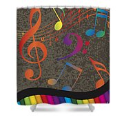 Piano Wavy Border With Colorful Keys And Music Note Shower Curtain