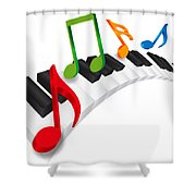 Piano Wavy Keyboard And Music Notes 3d Illustration Shower Curtain