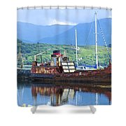 Pibroch Glascow Rusty Ruin Shower Curtain