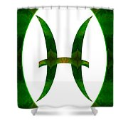 Pices Symbol And Heart Chakra Abstract Spiritual Artwork By Omas Shower Curtain