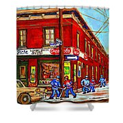 Piche's Grocery Store Bridge Street And Forfar Goosevillage Montreal Memories By Carole Spandau Shower Curtain