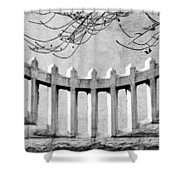 Picket Moon - Fence - Wall Shower Curtain