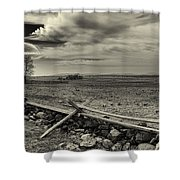 Picketts Charge The Angle Black And White Shower Curtain