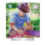 Picking Apples Shower Curtain