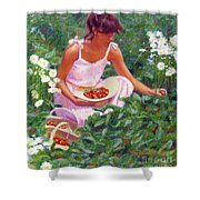 Picking Strawberries Shower Curtain