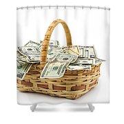 Picnic Basket Full Of Money Shower Curtain