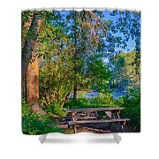 Picnic By The Methow River Shower Curtain