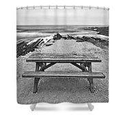 Picnic - Lone Table Overlooking The Ocean In Montana De Oro State Park In Caliornia Shower Curtain