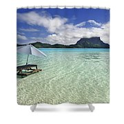 Picnic Table And Umbrella In Clear Lagoon Shower Curtain