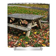 Picnic Table In Autumn Shower Curtain