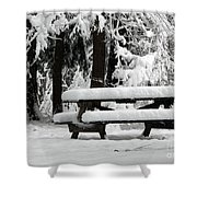 Picnic Table In The Snow Shower Curtain