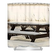 Picnic Table In Winter Shower Curtain