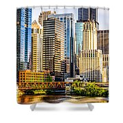 Picture Of Chicago Buildings At Lake Street Bridge Shower Curtain
