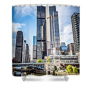 Picture Of Chicago Buildings With Willis-sears Tower Shower Curtain