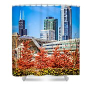Picture Of Chicago In Autumn Shower Curtain by Paul Velgos