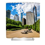 Picture Of Chicago Skyline With Millennium Park Trees Shower Curtain