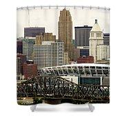 Picture Of Cincinnati Skyline Office Buildings  Shower Curtain by Paul Velgos