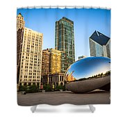 Picture Of Cloud Gate Bean And Chicago Skyline Shower Curtain by Paul Velgos