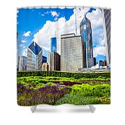 Picture Of Lurie Garden Flowers With Chicago Skyline Shower Curtain