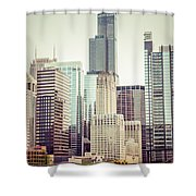 Picture Of Vintage Chicago With Sears Willis Tower Shower Curtain