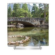 Picturesque Bridge In Yosemite Valley Shower Curtain