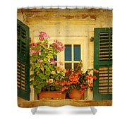 Picturesque Taormina Window  Shower Curtain