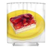 Piece Of Strawberry Cake Shower Curtain by Matthias Hauser