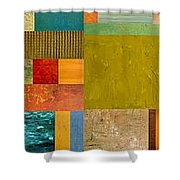 Pieces Project Lv Shower Curtain by Michelle Calkins