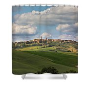 Pienza In The Afternoon Panorama Shower Curtain