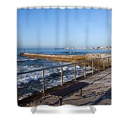 Pier And Promenade By The Atlantic Ocean In Cascais Shower Curtain