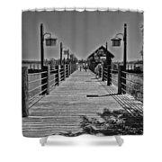 Pier At Fort Wilderness In Black And White Walt Disney World Shower Curtain