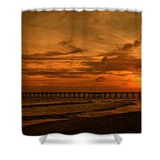 Pier At Sunset Shower Curtain by Sandy Keeton