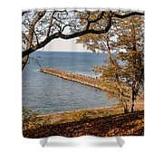 Pier In The Fall Shower Curtain