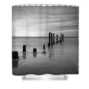 Pier Into The Past Black And White Shower Curtain