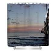 Pier Panorama At Sunrise  Shower Curtain by Michael Thomas