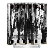 Pier Pilings Black And White Shower Curtain