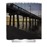 Pier Sunrise On A Cold January Morning Shower Curtain