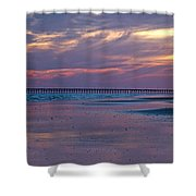 Pier Sunset Shower Curtain