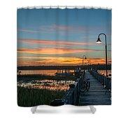 Pier Sunset Shower Curtain